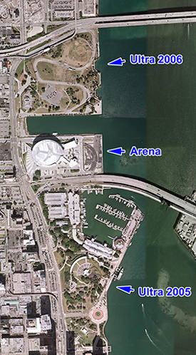 Ultra Music Festival, 2005 and 2006 locations
