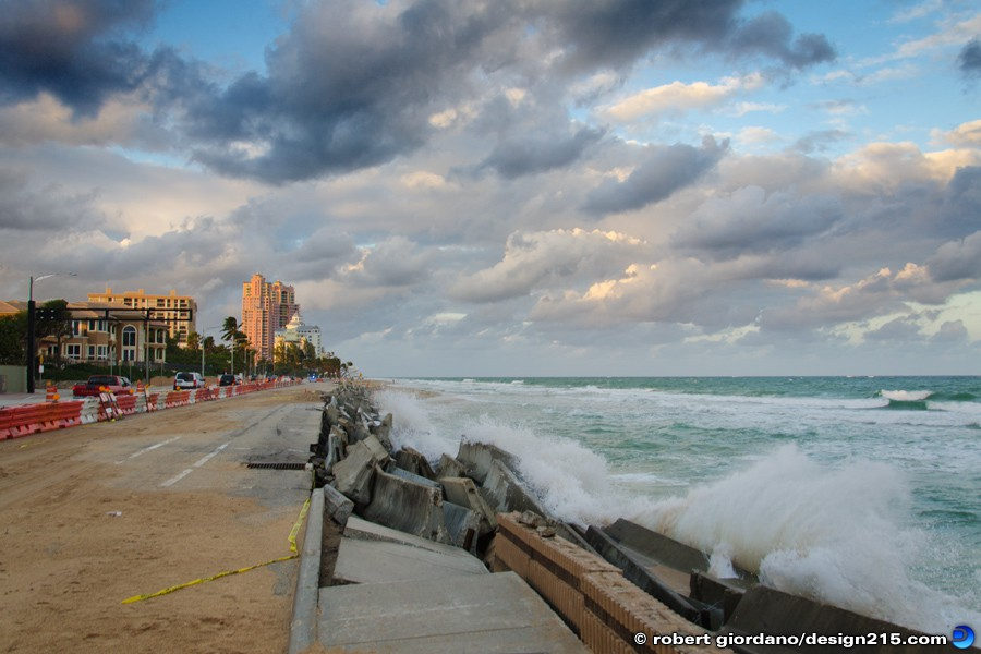 A1A Flooding, Fort Lauderdale - Nov 29 2012 Concrete Barriers at Dusk, photo by Robert Giordano