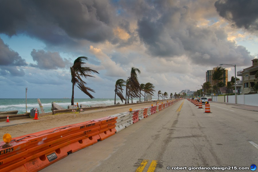 Nov 29 2012 Water Filled Barrier Wall - A1A Flooding, Fort Lauderdale