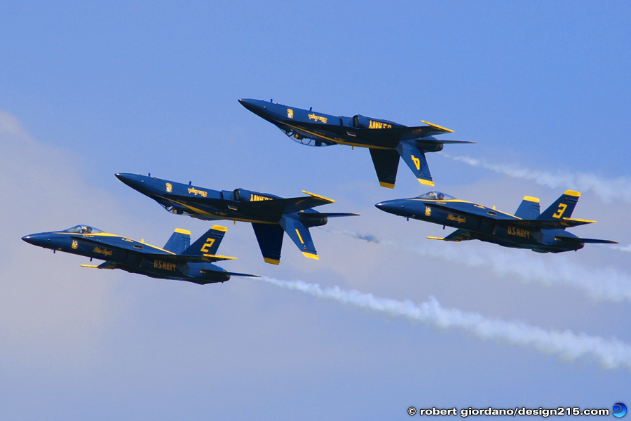 Action Photography - Blue Angels in Formation, photo by Robert Giordano