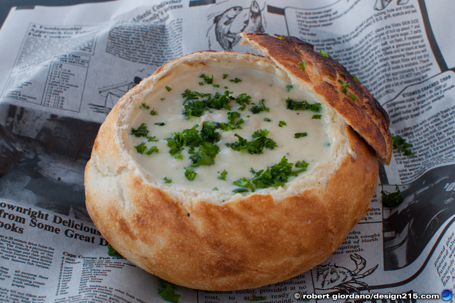 Food Photography - Clam Chowder Bread Bowl at Anglins Cafe, photo by Robert Giordano