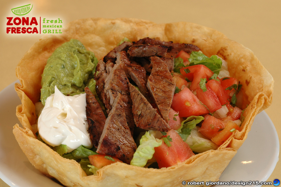 Food Photography - Steak Tostada at Zona Fresca, photo by Robert Giordano