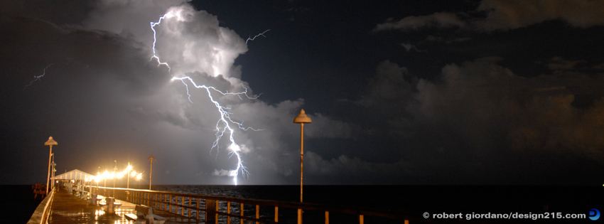 Lightning at Commercial Pier - Facebook Cover Photos