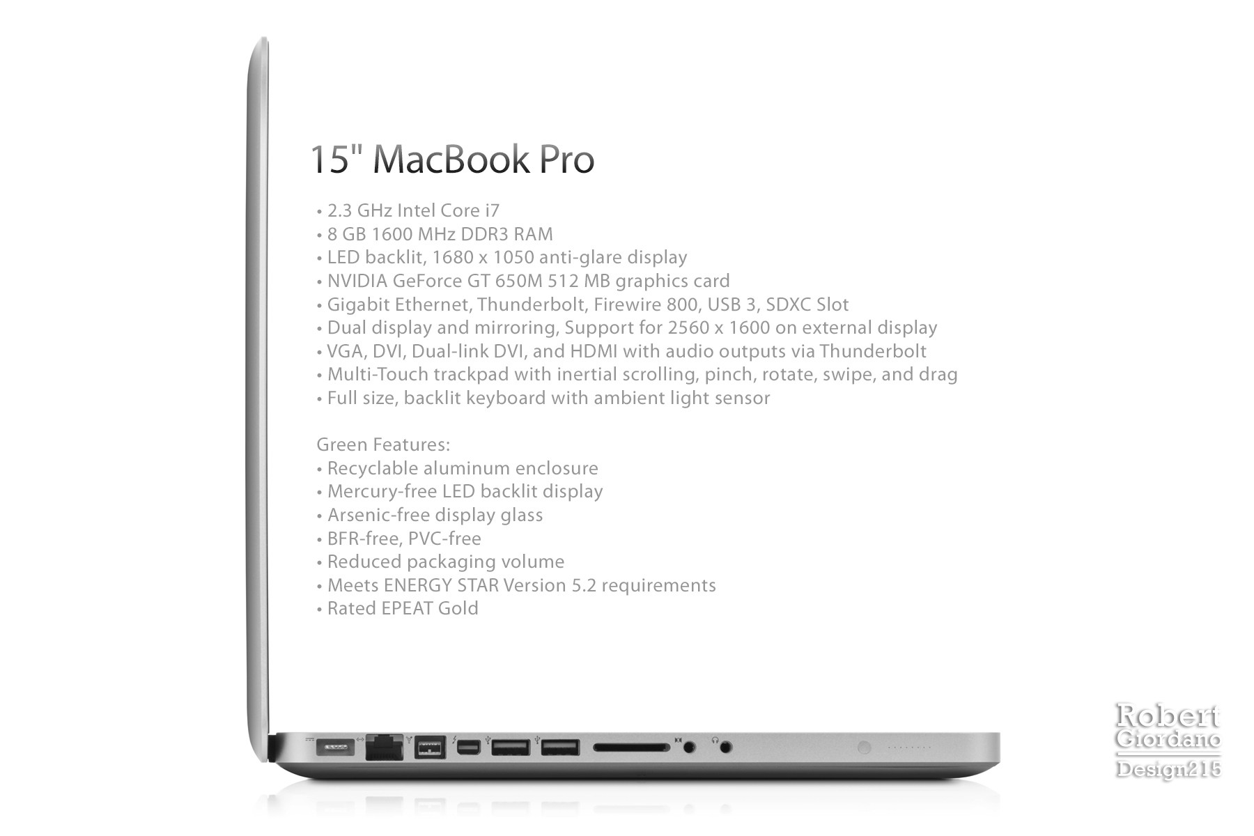2013 Macbook Pro, Side View - Product Photography