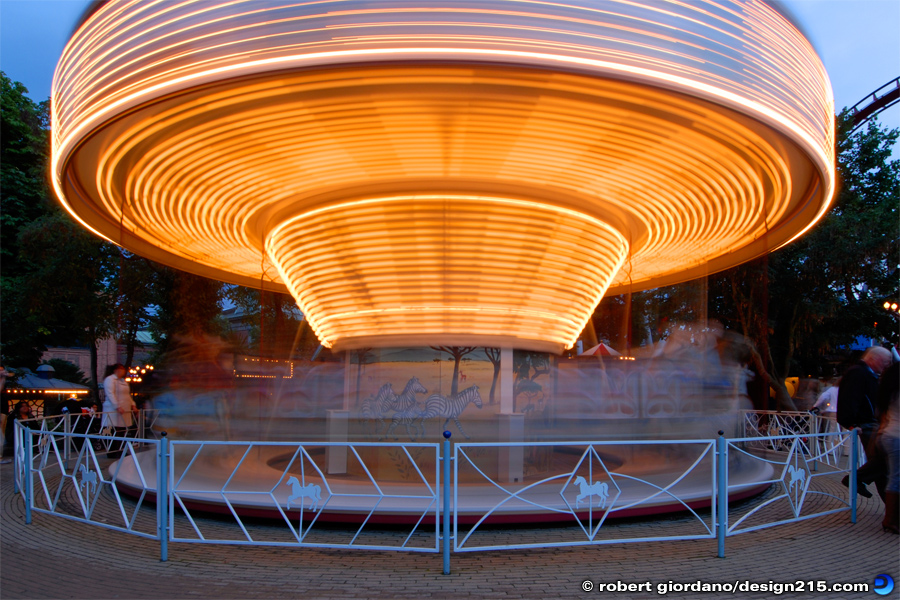 Action Photography - Tivoli Gardens Carousel, photo by Robert Giordano