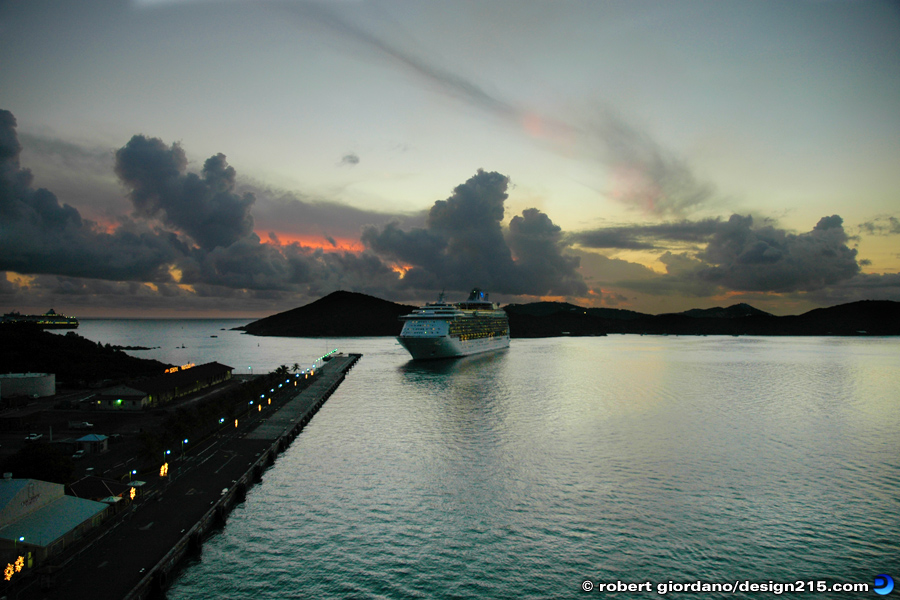 Travel Photography - Sunset Docking, St. Thomas, photo by Robert Giordano