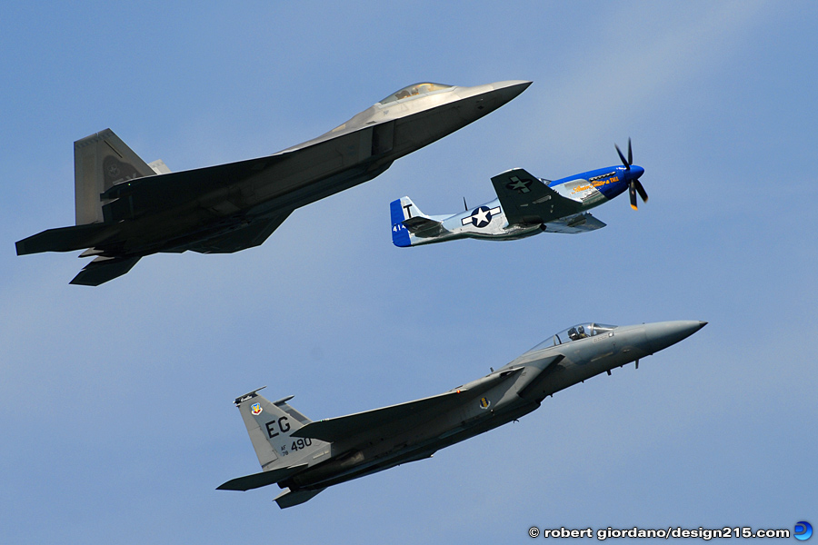 Action Photography - Three Generations of Aircraft, photo by Robert Giordano