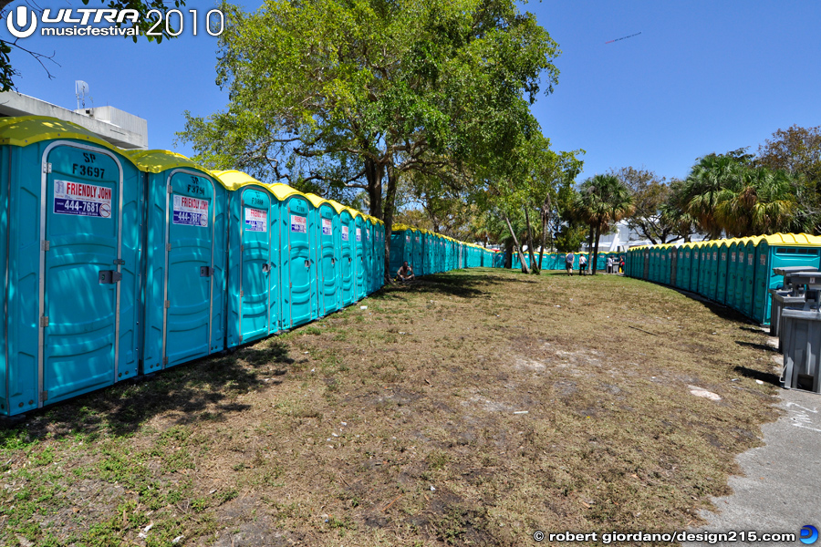 2010 Ultra Music Festival - Rows of Portable Toilets, photo by Robert Giordano