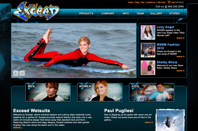 ExceedWetsuits.com - Web Design Portfolio